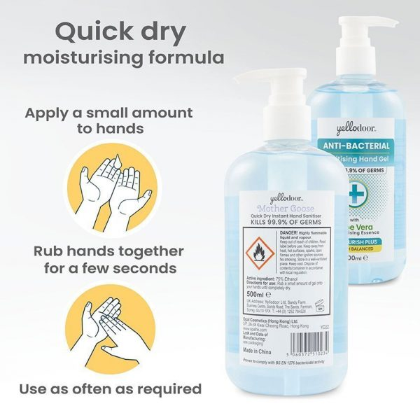 Anti-Bacterial Hand Sanitiser Gel with Aloe Vera Home and Work 4